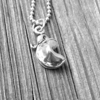 Fortune Cookie Necklace, Sterling Silver