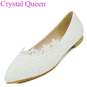 Fashion ballet flats white lace wedding shoes flat heel casual shoes pointed toe flats women wedding princess flats plus size 41