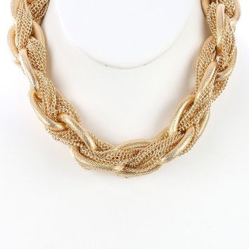 Interlaced Multi Chain Chunky Link Choker Necklace