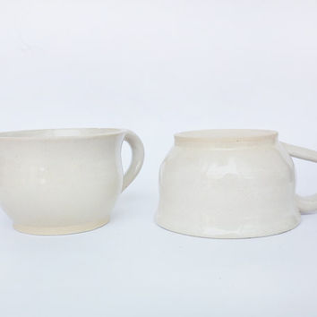 Set of two white ceramic soup bowls with handle, pottery mugs set