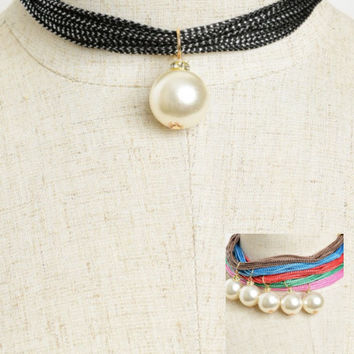 Women Fashion Jewelry Vintage Retro Layered Rope Pearl Choker Casual Summer Fun