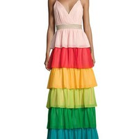 Alice + Olivia Luba Sleeveless Tiered Chiffon Gown, Multicolor