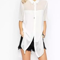 Casual Mesh Asymmetrical Doll Collar Slit Blouse
