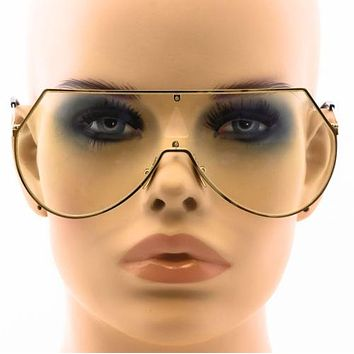 Elite Oversize Womens Flat Top Aviator Retro Shield Clear Lens Rimless EYE WEAR