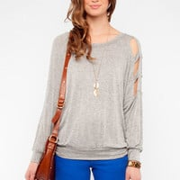 Bar Hopper Top in Light Grey :: tobi