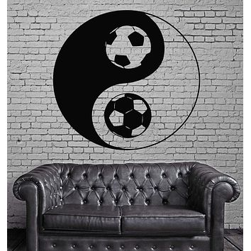 Soccer Football Ball Black White Sport Decor Wall MURAL Vinyl Art Sticker Unique Gift z837