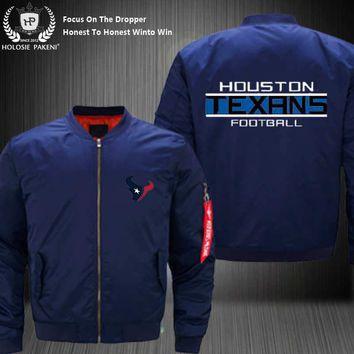 Dropshipping USA Size MA-1 Jacket Football Team Houston Texans Men Flight Jacket Custom Design Printed Bomber Jacket made Men