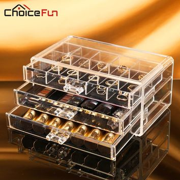 CHOICE FUN 3 Drawers Plastic Cosmetic Makeup Storage Organizer Box Transparent Acrylic Storage Makeup Box For Jewelry Cosmetic