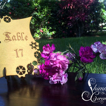 Steampunk table numbers laser cut gears custom wooden engraving wedding party