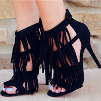 Quincy Fringe Heels - Black