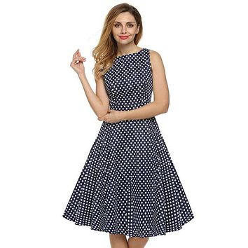 Floral Swing Summer Dress Blue with White Polka Dots