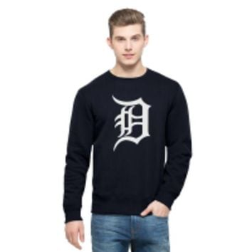DCCKG8Q MLB 47 Brand Detroit Tigers Mens Fall Navy District Crew Neck Sweatshirt