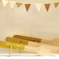Clothed Cutlery in Glittering Gold - Disposable Washi-Patterned Wooden Forks, Spoons or Knives (A Dozen)