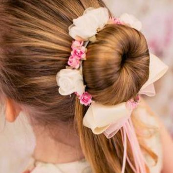 Satin with silk Flowers Bun Wrap