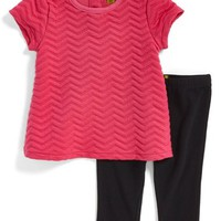 Infant Girl's Nicole Miller Chevron Quilted Babydoll Tunic & Leggings (Online Only)