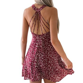 Sexy Halter Backless Strap Dress Floral Printed O Neck Sleeveless Dress Vintage Casual Mini Dress Women Spring Summer