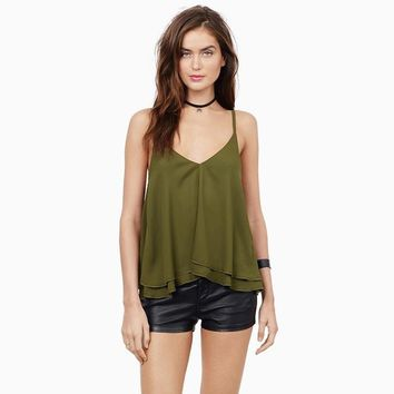 New Fashion Women Vest 2 Colors Solid Sexy V Neck Sleeveless Casual Tops Two Layer Strap Chiffon Open Back Cami