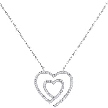 10kt White Gold Women's Round Diamond Double Heart Love Pendant Necklace 1-5 Cttw - FREE Shipping (US/CAN)