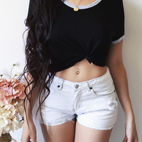 Indie Cropped Tee (BLACK)