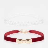River Island | River Island Velvet Bow And Pearl Choker Multipack Necklace at ASOS
