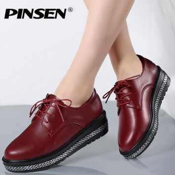PINSEN 2017 New Women Platform Shoes Woman Genuine Leather Ballet Flats Lace Up Female Casual Heels Oxford Shoes For Women