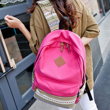 Rose Red Canvas Ethnic Style Backpack Travel Bag School Bookbag
