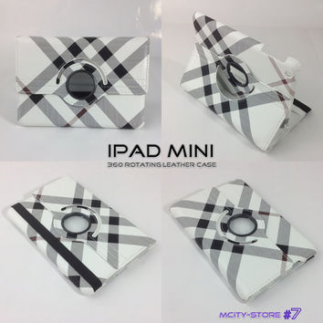 IPad Mini Cover Luxury Stripes Pattern 360 Degree Smart Rotating PU Leather Case - Black white Grey Stripes