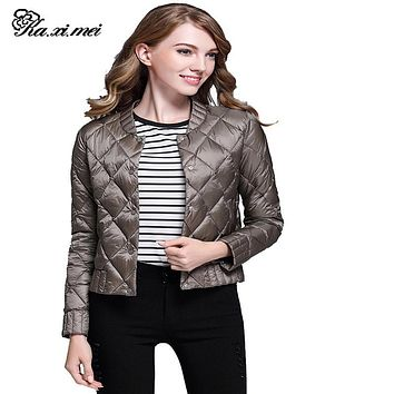 Kaximei Winter Jackets Women Hooded 100% White Duck Down Ultralight Slim Diamond Solid 2017 Autumn New Arrival Ladies Coat Plus