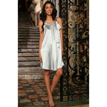 Silver Grey Charmeuse Halter Swing Summer Cocktail Dress - Women