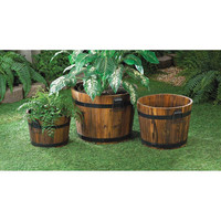 Rustic Country Charm Aged Oak Apple Barrel Planter Pots Set of 3