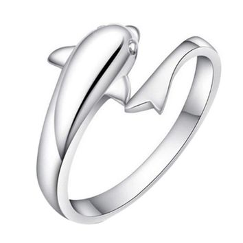 New Fashion Romantic Dolphin Bay lovers ring opening adjustable fashion ring
