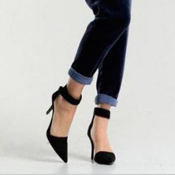 Vintage Womens High Heels Ankle Strap Pointed Toe Sandals Shoes  Sexy  Casual