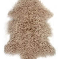 Rockwall Mongolian Sheepskin Faux Fur Single 2x3 Rug - Tan | HauteLook