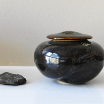 Small stoneware urn with black and green glaze, small lidded jar, pet urn, small memorial urn, stash jar, treasure jar, wish jar