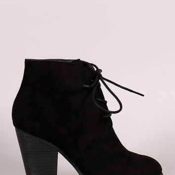 Liliana Almond Toe Lace Up Chunky Heel Booties