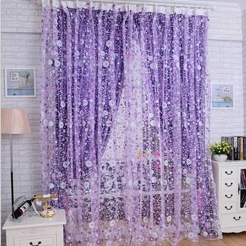 1PC Print Floral Voile Door Sheer Window Curtains Room Curtain Divider 100cm*200cm (Color:Purple)