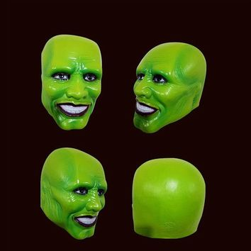 DCCKF4S Halloween The Mask Jim Carrey Cosplay Green Mask Costume Adult Fancy Dress Face Halloween Masquerade Party Cosplay Movies Mask