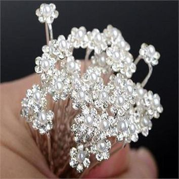 ESBG8W 20PC Hairpins Wedding Women Hair Accessories Bridal Crystal Rhinestone Headdress Hair Pins Hair Clips Bridesmaid Barrettes
