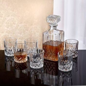 32 Crystals Whiskeys Bar  7 Pcs Set Decanter Glass  Scotch 6 DO F Glasses Liquor