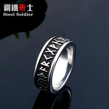drop shipping Men 316L Stainless Steel Red CZ ring Antique Mantra charm Jewelry