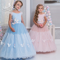 Vestido de Daminha Cute Lace Flower Girl Dress Sky Blue Girls Pageant Dresses with Butterfly Kids Prom Gowns Custom Made
