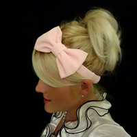 Ballet slipper pink bow stretch headband pinup/retro/kawaii