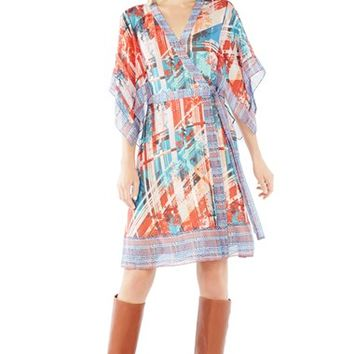 Women's BCBGMAXAZRIA 'Krystie' Print Silk Chiffon Wrap Dress,