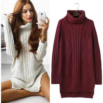 High Neck Cable Knit Wear Solid Color Long Pullover Sweater