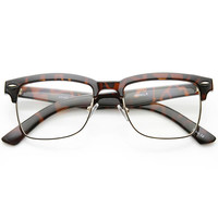 Vintage Inspired Horned Rim Half Frame Clear Lens Glasses 9623