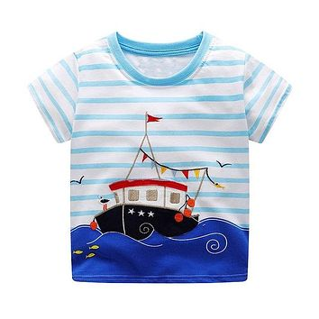 Ship On The Water Blue Striped Tee