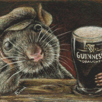 Modern Cross Stitch Kit By Tanya Bond 'Paddy the rat drinking Guinness in a quiet pub' - Counted CrossStitch