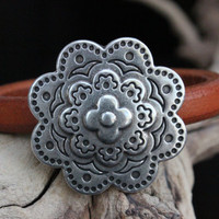 Licorice Leather Bracelet Layered Zamak Flower Focal Magnetic Clasp Summer Trends May Gifts May Finds Mothers Day