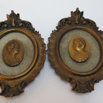Vintage Ornate framed picture set 2 antique gold tone frames with cast Silhouette Busts