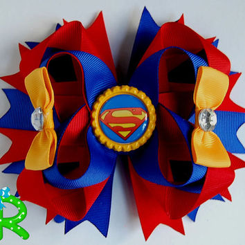 Superman hair bow, boutique hair bow for girls,superman layered bow